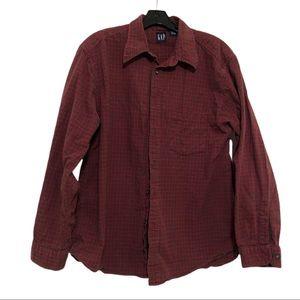 GAP Button Down Plaid Shirt, Red & Green, Size L